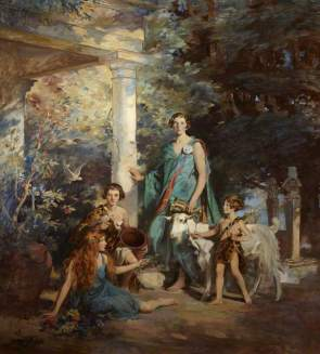 Brock, Edmond, 1882-1952; 'Circe and the Sirens': A Group Portrait of the Honourable Edith Chaplin (1878-1959), Marchioness of Londonderry, and Her Three Youngest Daughters, Lady Margaret Frances Anne Vane-Tempest-Stewart (1910-1966), Lady Helen Maglona Va