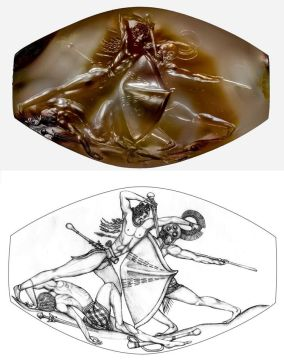 griffin warrior agate & line drawing